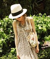 1 piece  fashion style Women Foldable Wide Large Brim Floppy Summer Beach Sun Straw Hat Cap 5 colour