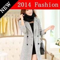 2014 new fashion long christmas desigual coats Cashmere outwear casual dress winter coat women cheap clothes china 1108LX