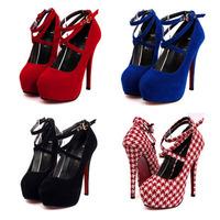 New Fashion Red Bottom Platform High Heels Women Shoes Sexy Cross Strap Thin Heels Women Pumps Ladies Wedding Shoes Stilettos
