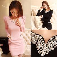 2015  Slim long section of diamond beaded waist pocket long sleeve dress package hip bottoming D8808