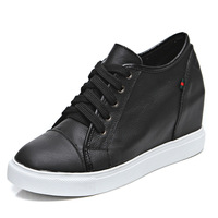 New 2015 Women Genuine Leather Wedges Sneakers Fashion Lace Up Platform Height Increasing Women Sneakers Wedges Shoes For Women