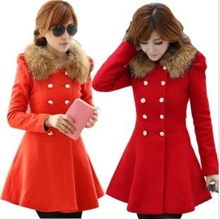 2014 autumn and winter woolen overcoat slim medium woolen outerwear female trench short wool coat(China (Mainland))