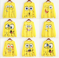 Hot! New 2015 Casual Hoodies Sweatshirts women Autumn and winter woman Long sleeve Hoody Bright yellow color tracksuit