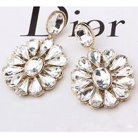 Vintage Jewelry For Women Clear Crystal Stone Water Drop Earrings Rhinestone Flowers Statement Dangle Earrings Party Accessories