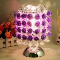 Quality Modern Fashion Rose Flower Lampshade Bedroom Beside Decoration Table/Desk Night Lights Lamp  Indoor Lighting Fixtures
