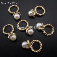 10pcs Pearl Rings Nail  Art  tools Tips 3d alloy Rings Nail Decorations Gold Tone AM143