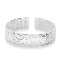 1 Piece Free Shipping Fine(999) women Wholesale Genuine 999 Silver Open bangle TOP quality free shipping Heart Sutra bangle