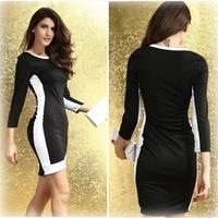 Women Casual Dresses 2014 New Mini Sexy Slim Bodycon Black Casual Vestidos Sexy Patchwork Casual Fall Slim Dress Free Size
