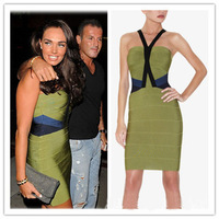 2015 Spring New Arrival European Brand HL Bandage Dress Elegant Over Hips Sexy Dress