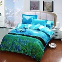 Purple butterfly bedding duvet Cover sets100cotton king size butterfly bedding set 3Doil painting bedding bedroom sets