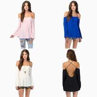 2015 2015 New Cross back Fashion Spaghetti strap Loose Woman Shirt Solid Chiffon shirt Black/blue/pink,white