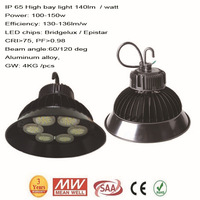 high power 100w 110w 130w 140w led high bay light industrial and mining droplight pendant lamp meanwell driver  lamp fixture