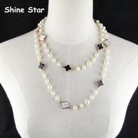Fashion Elegant 117CM Pearl Chain Statement Enamel Black+White Clover Sweater Long Chain Necklace Women Pendant Jewelry Item,C84