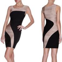 2015 Spring New Arrival European Brand HL Bandage Dress Celebrity Sleeveless Bandage Party Dress