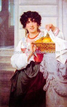 Handmade Classical Woman Portrait Oil Painting,Pierre Auguste Cot,40*70CM