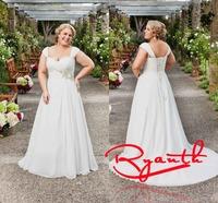 RBW116 Vestidos De Noiva Sweetheart Cap Sleeve A-Line Plus Size Chiffon Lace Up Wedding Dress 2015 Bridal Gowns Wedding Dresses