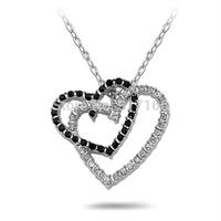 Heart Black Necklace White stone Finish Silver Round