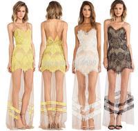 Ladies Summer yellow white black flower lace Long dress Celebrity prom bodybon dress evening party  vestidos fiesta dress