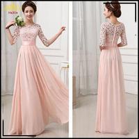 2015 Elegant Brief Dress Bridesmaids Dresses Long Wedding Party Dress New Pink White Lace Chiffon Dress For  922730