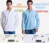 France alligator Logo--Made in Peru EU Size men CLASSIC Long sleeve Polo/casual long sleeve pique cotton Polo/100% cotton