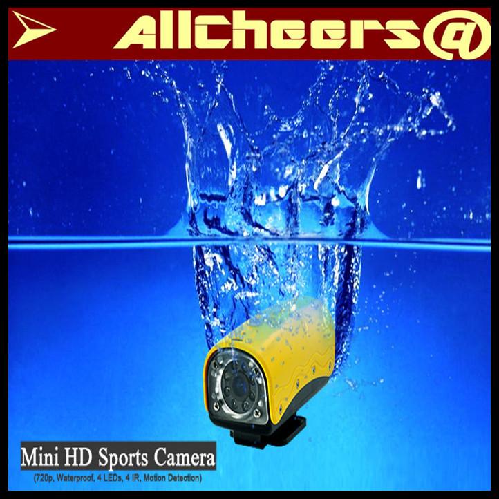 High quality HD 720p Mini Digital Sports video Camera 20M Waterproof helment(China (Mainland))