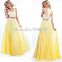 Two Piece Prom Dress Appliqued Halter Sleeveless Long Yellow Prom Dresses Vestido Longo