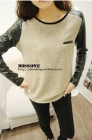 Korean fashion Pu Patchwork sleeve design loose cotton sweater bottoming shirt 6025 AN
