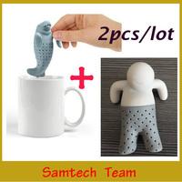 2Pcs( 1pc Manatee Mana Tea Strainers  + 1pc cute Mr Tea Infuser) Loose Leaf Strainer Good Quality