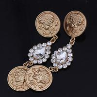 2014 Hot Sale Vintage Earrings For Women Gold Plated Coin Dangle Earrings Rhinestone Water Drop Statement Earrings Free Shipping
