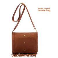 New retro fringed bag brown satchel bag shoulder bag tassel bag cover cost-effective