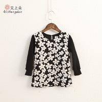 2015 autumn spring new children's clothing dress girl winter flowers long sleeve princess dress wholesale  5pcs/lots