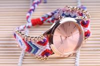 Free shipping Retail Manual Weave Colorful watch women 2015 new design wrist watch women's watches