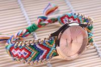 Free shipping Retail Manual Weave Colorful watch women 2015 new design relogio male brand watch relogios feminino fashions