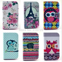 For Motorola Moto E XT1022 High quality Flowers cartoon owl design Magnetic Holster Flip Leather phone Case Cover D1048-A
