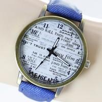 2015 Fashion Unisex Quartz Watches Men Sports Watches Denim Fabric Women Dress Watch news paper wristwatch Design hours