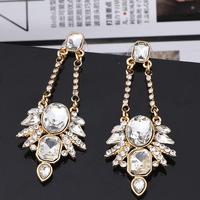 2014 Statement Jewelry Drop Earrings For Women Crystal Stone Flowers Long Earrings Luxury Shourouk Dangle Earring Xmas Gift