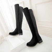 2014 women's autumn and winter shoes fashion over-the-knee 25pt side zipper flat tall boots flat heel boots plus size