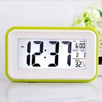 led alarm clock touch sensing the large display screen lounged mute luminous induction table clock 15