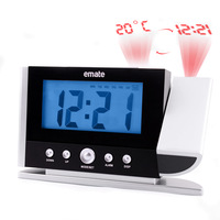 Clock with projector creative double bell and lounged luminous mute large screen digital alarm clock calendar thermometer