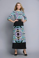 New arrival 2015 Spring Summer fashion brand Three-quarter Bohemian style Floor-length Digital long dress#Y9217