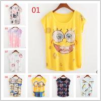 2015 Women Summer New Yellow Cartoon people Printing T-shirts, women tops and tees, Loose Bat Short Sleeve T shirt free shipping