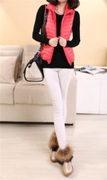 Hot-selling 2014 autumn and winter slim with a hood female fashion pure colorant match outerwear cotton vest