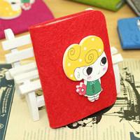2014 New Fashion Cartoon Card Bag Candy Color Felt Cloth Bag Handmade Wool Felt Bank Card  Pack Clutch