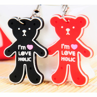 Free shipping Cute black and red bear design key chain  lovers phone pendant 2pcs/pack 3.5*5cm