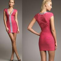 2015 Spring New Arrival European Brand HL Bandage Dress Low Cut V-Neck Elegant Party Dresses
