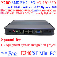 Free Shipping Mini ITX PC Computer X2400 ST with AMD APU E240 1.5Ghz for TC equipment system integration project 4G RAM 16G SSD