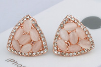 New Cats Eye Earrings Zinc Alloy with Cats Eye Triangle real rose gold plated nickel lead & cadmium free 19x19mm Sold By Pair