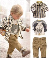 Zoo Party1 set Retail top quality children clothing set boy's plaid 3 pcs set overshirt+tees+pants autumn baby outer wear