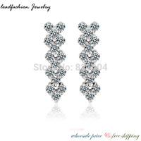 2014 Lead Fashion Luxury 18 k White Gold Heart Stud Earrings with Zircon Stone Women Bijoux Christmas Gift cc Bijouterie