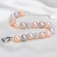 "100% natrual freshwater pearl bracelet, wedding gift, length 18+4cm(7.1+1.5"") jewelry"